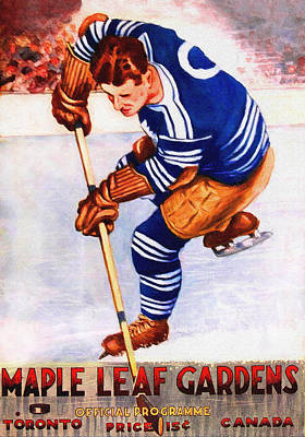 National Hockey League Painting - Toronto Maple Leafs Vintage Program Two by Big 88 Artworks