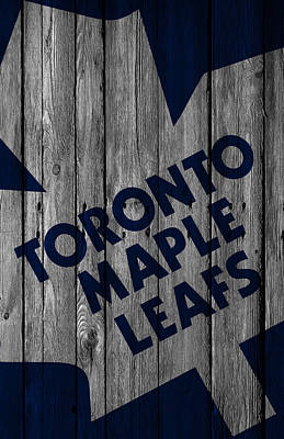 Hockey Digital Art - Toronto Maple Leafs Wood Fence by Joe Hamilton