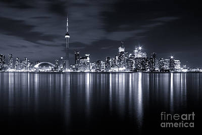 Toronto Skyline Monochrome Print by Matt  Trimble