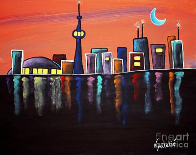 Whimsical Painting - Toronto Skyline Whimsical Art By Valentina Miletic by Valentina Miletic