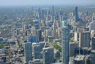 Aerial Perspective Painting - Toronto Skyscrapers From Cn Tower by John Malone