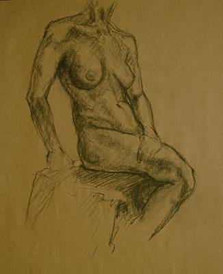 Male Nude Drawing Drawing - Torso by Chris  Riley