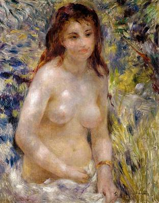 Bracelet Painting - Torso Effect Of Sunlight by Pierre Auguste Renoir