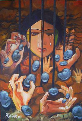Imprisonment Painting - Torture by Noor Alassaba