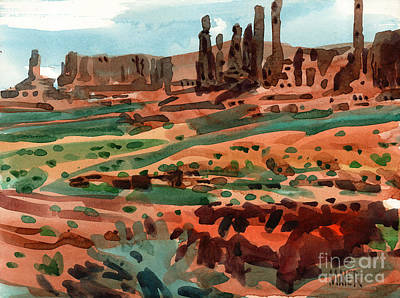Navajo Painting - Totem Poles by Donald Maier
