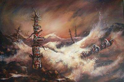 Totem Pole Painting - Totems by Tom Shropshire