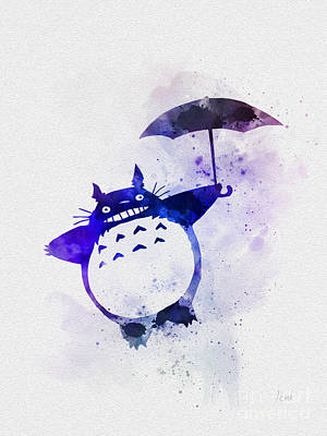 Manga Mixed Media - Totoro by Rebecca Jenkins