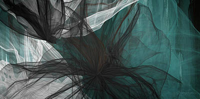 Modern Abstract Painting - Touch Of Class - Black And Teal Art by Lourry Legarde