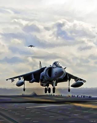 Harrier Digital Art - Touchdown Navy by Peter Chilelli