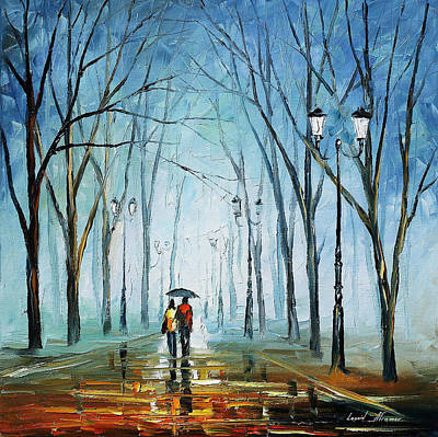 Painting - Touching Fog - Palette Knife Oil Painting On Canvas By Leonid Afremov by Leonid Afremov