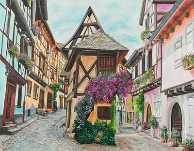 Bavarian Painting - Touring In Eguisheim by Charlotte Blanchard