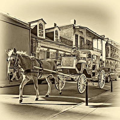 Horse Photograph - Touring The French Quarter - Sepia by Steve Harrington