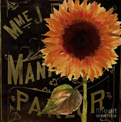 French Signs Painting - Tournesols Orange Sunflowers by Mindy Sommers