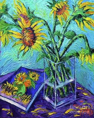 Vase Painting - Tournesols Pour Vincent by Mona Edulesco