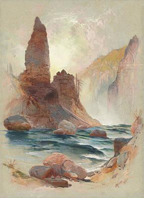 Mountain Drawing - Tower At Tower Falls, Yellowstone by Thomas Moran
