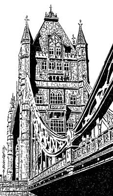 London Skyline Drawing - Tower Bridge by Brian Keating