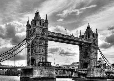 Tower Bridge In London Bw Print by Mel Steinhauer