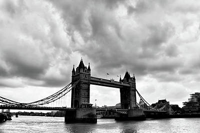 London Skyline Photograph - Tower Bridge Under The Clouds Bw by Mihaela Pater