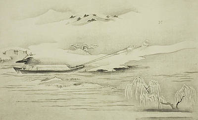 Winter Landscapes Drawing - Towing A Barge In The Snow by Kitagawa Utamaro