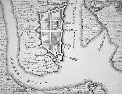 Southern Drawing - Town And Harbor Of Charleston South Carolina by American School