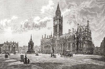 Town Hall, Albert Square, Manchester Print by Vintage Design Pics