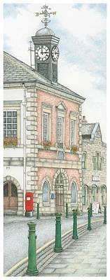 Old Town Drawing - Town Hall Clock Garstang Lancashire by Sandra Moore