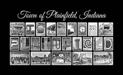 Town Of Plainfield Indiana In Black And White Print by Dave Lee