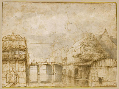 Drawing - Town View With A Bridge by Abraham Furnerius