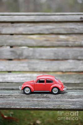 Toy Car On A Bench Print by Edward Fielding