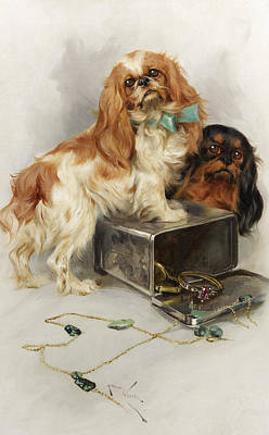 Purebred Painting - Toy Spaniels by Arthur Wardle