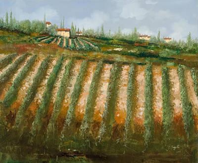 Tra I Filari Nella Vigna Print by Guido Borelli