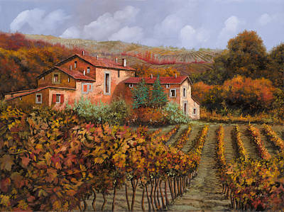 Vineyards Painting - tra le vigne a Montalcino by Guido Borelli