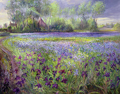 Irises Painting - Trackway Past The Iris Field by Timothy Easton