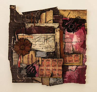 Paper Mixed Media - Trading Stamps With Flower by Laura  Lein-Svencner