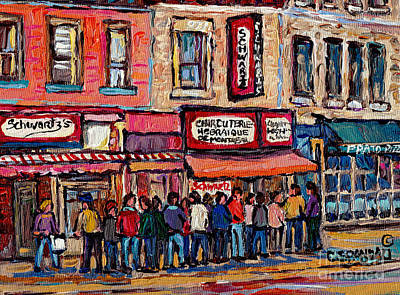 Streetscenes Painting - Tradition Schwartz's Line-up Montreal Smoked Meat Deli Painting Canadian  City Scene Carole Spandau by Carole Spandau