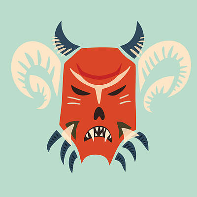 Halloween Digital Art - Traditional Bulgarian Evil Monster Kuker Mask by Boriana Giormova