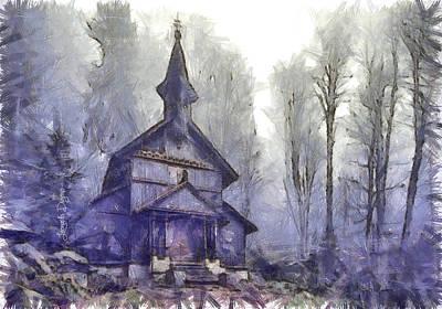 Steeple Digital Art - Traditional Church - Da by Leonardo Digenio