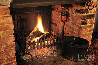 Fire Photograph - Traditional English Pub Fireplace by Andy Smy