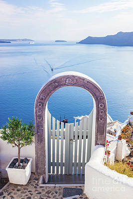 Welcome Photograph - Traditional Fence Gate In Oia On Santorini Island, Greece by Michal Bednarek