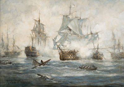 Of Pirate Ships Painting - Trafalgar   End Game by Richard Willis