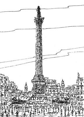 London Skyline Drawing - Trafalgar Square, London. by Brian Keating