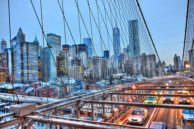 Traffic Under The Brooklyn Bridge Original by Randy Aveille