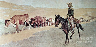 The Horse Painting - Trailing Texas Longhorns by Frederic Remington