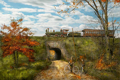 Dickson Photograph - Train - Arlington Nj - Enjoying The Autumn Day - 1890 by Mike Savad