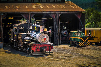 Old Trains Photograph - Train Barn Roaring Camp by Garry Gay
