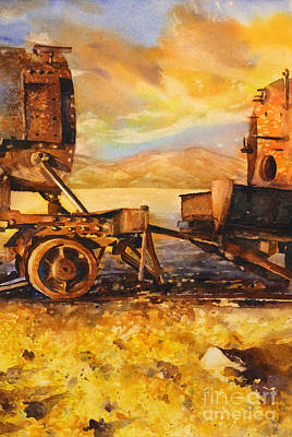 Cemetary Painting - Train Cemetary- Salar De Uyuni, Bolivia by Ryan Fox