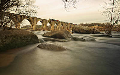 Train Over James River Print by Tom Lynch Photography LLC