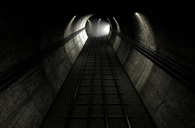 London Tube Digital Art - Train Tracks And Approaching Train by Allan Swart