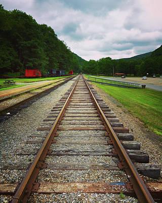 Nature Shot Photograph - Train Tracks by Linda Sannuti
