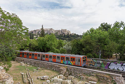 Old Photograph - Train Traversing History In Athens by Iordanis Pallikaras